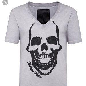"""Philipp Plein T-Shirt V-Neck """"Skull"""" M"""